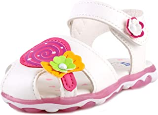 Anrenity Baby Girls Soft Round Toe Summer Sandals Cartoon Flat Shoes(Toddler)