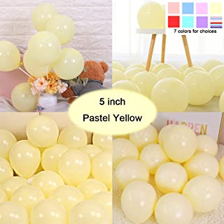 Party Pastel Balloons 200 pcs 5 inch Macaron Candy Colored Latex Balloons for Birthday Wedding Engagement Anniversary Christmas Festival Picnic or any Friends & Family Party Decorations-pastel yellow