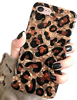 iPhone 8 & iPhone 7 Case, J.west Luxury Sparkle Bling Translucent Leopard Print Soft Silicone Phone Case Cover for Girls Women Flex Slim Design Pattern Drop Protective Case for iPhone 7/8 4.7 inch