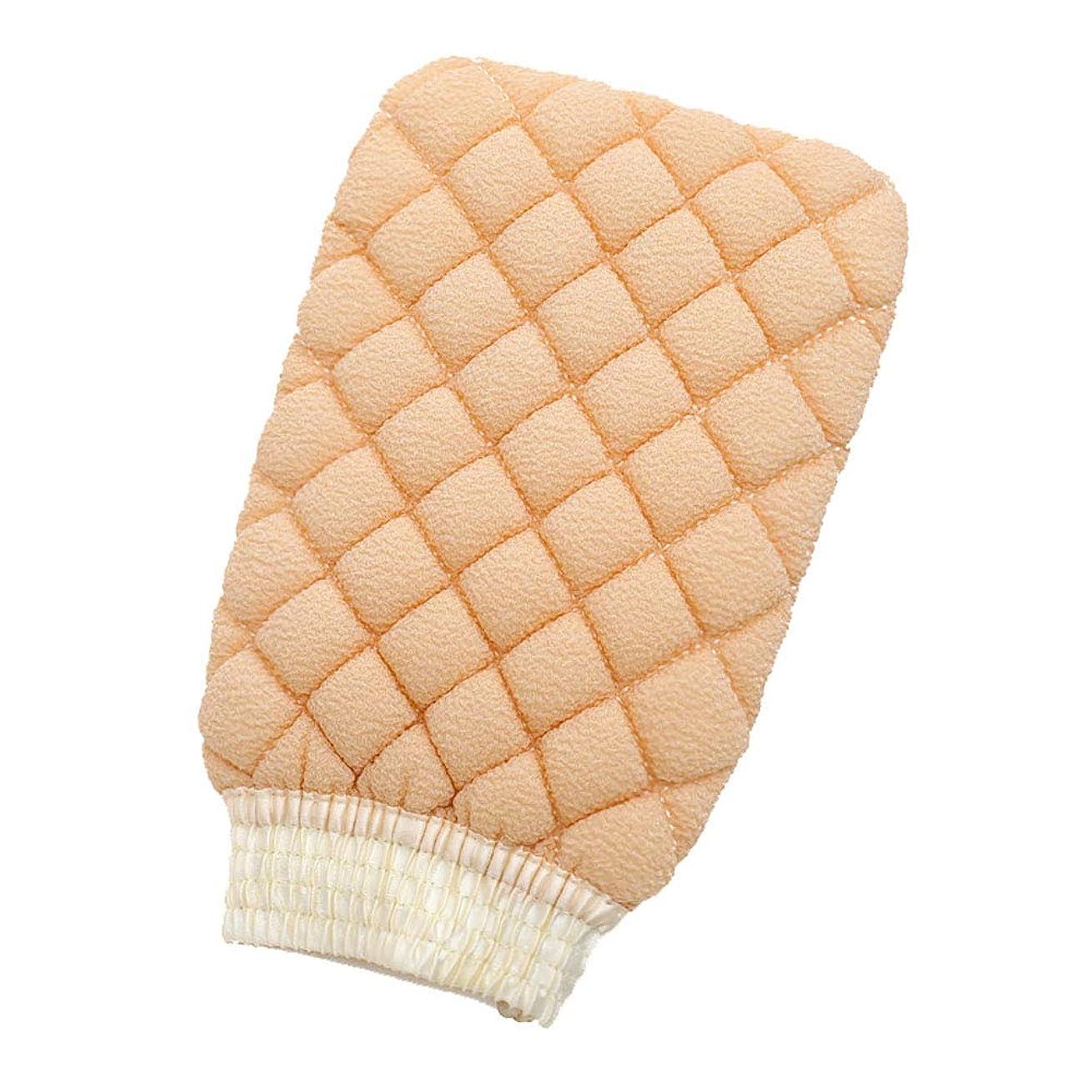 ボタン崇拝するテスピアンダブルサイドバスタオル除染バスタオルバック入浴手袋(ベージュ)