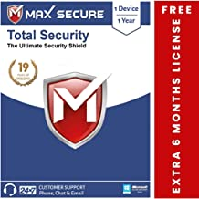 Max Secure Total Security Platinum for Windows - 1 PC, 1 Year + Extra 6 months Subscription Free ( Email Delivery in 2 Hrs - No CD ) with Ransomware Protection