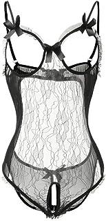 Lencería Mujer Ropa Interior, Pijamas de Encaje Erótico Ropa Interior tentación Abrir la Entrepierna Baby Doll Camisón