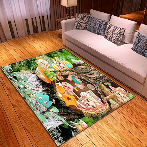 HJKGSX Alfombra De Salón Elfo de Setas de Dibujos Animados Alfombra Pelo Corto Antideslizante Dormitorio Cuarto de los niños Fácil de Manejar 100 x 150 cm