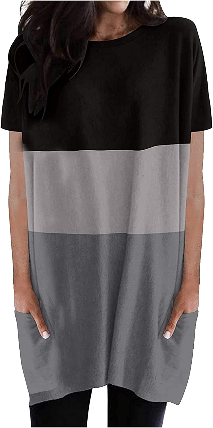 Casual Summer Dress for Max 40% OFF Women Round Sleeve T-S Pocket Short Max 81% OFF Neck
