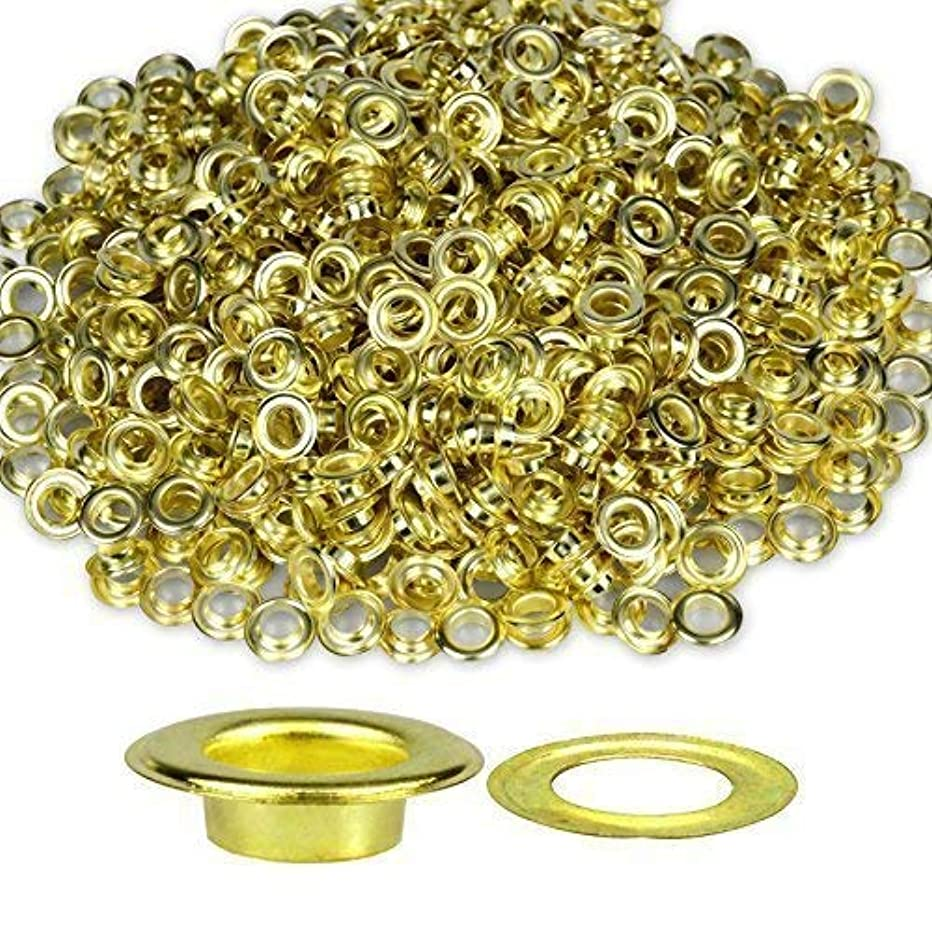 200 Pcs Metal Grommets Eyelets Self Backing for Bead Cores, Clothes, Leather, Canvas (Gold, 5 mm)