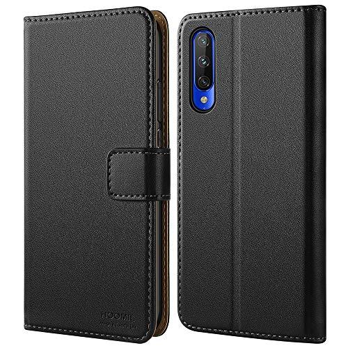 HOOMIL Handyhülle für Xiaomi Mi 9 Lite Hülle, Premium PU Leder Flip Schutzhülle für Xiaomi Mi 9 Lite Tasche, Schwarz