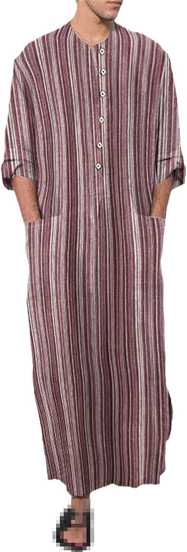 Men Muslim Islamic Arabic Kaftan Striped Cotton Pockets Long Sleeve Fashion Jubba Thobe Middle East Dubai Abaya