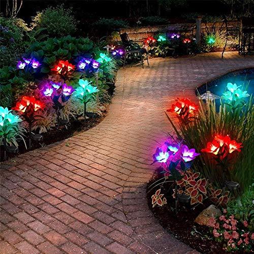 Paquete de 3 luces solares impermeables para exteriores, luces LED solares de flores que cambian de varios colores, luces de jardín, luces decorativas para césped y patio