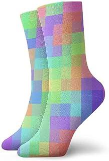tyui7, Pastel Rainbow Colors Block Calcetines de compresión antideslizantes Cosy Athletic 30cm Crew Calcetines para hombres, mujeres, niños