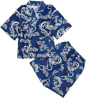 Amosfun Kids Japanese Traditional Kimono Cotton Summer Short Sleeved Pajamas Navy Blue