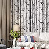 Birch Tree Peel and Stick Wallpaper Shiplap Black/White Removable Wallpaper Self Adhesive Wallpaper Waterproof and Shelf Liner Home Decoration 17.7' x 118'