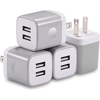 USB Wall Charger, X-EDITION 4-Pack 10.5W/2.1A Universal 2-Port USB Wall Plug Power Adapter for Phone X, 8/8 Plus 7/7 Plus, 6/6 Plus 6S, Pad, Samsung Galaxy S5 S6 S7 Edge, Nexus, LG (Gray)