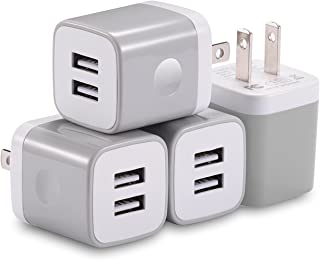 X-EDITION USB Wall Charger, 4-Pack 10.5W/2.1A Universal 2-Port USB Wall Plug Power Adapter for Phone X, 8/8 Plus 7/7 Plus, 6/6 Plus 6S, Pad, Samsung Galaxy S5 S6 S7 Edge, Nexus, LG (Gray)