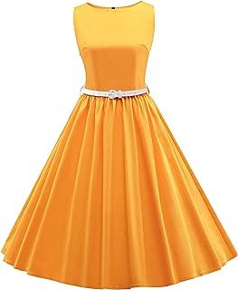 JAEDEN Women's Classy Audrey Hepburn 1950s Vintage Rockabilly Swing Dress with Belt