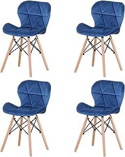 LUCKEU Lot de 4/8 chaises de salle à manger classiques et minimalistes avec pieds en bois et cadre en métal pour cuisine o...