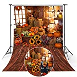 Mocsicka Halloween Vinyl Backdrop Fall Pumpkin Harvest Background Thanksgiving Wooden Floor Barn Autumn Pumpkins Maple Leaves Sunflower Backdrop for Kids Adult Family Portrait Photo Backdrop (5x7ft)