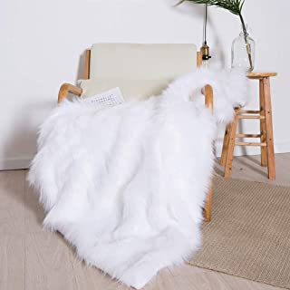HORIMOTE HOME Luxury Plush Faux Fur Throw Blanket, Long Pile White Throw Blanket, Super Warm, Fuzzy, Elegant, Fluffy Decoration Blanket Scarf for Sofa, Armchair, Couch and Bed, 50''x60''