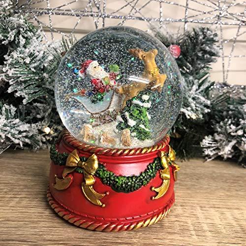Mezzaluna Gifts Traditionelle Schneekugel mit Musik, zum Aufziehen, Weihnachtsmann und Schlitten oder Rotkehlchen