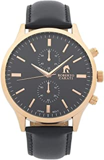 Bevilles Roberto Carati Kobe Black Leather Watch Model AR750IPRG Leather,Stainless Steel