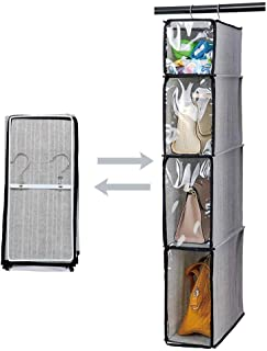 Kntiwiwo Hanging Handbag Organizer Purse Storage Breathable Soft Foldable with Clear Dust Proof Cover Hanging Cabinet Shelves for College Student Dormitary Living Room 1Pcs,Grey
