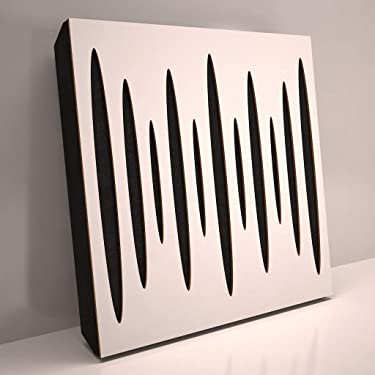 (2 Pack) Sound Absorption-Diffuse Acoustic Panel «Pulsar» for rec.studio | Wood laminated: (White)
