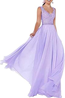 R&Bwedding - Abito da sera lungo da donna, in chiffon, con scollo a V, abito da ballo, vestito da damigella d'onore