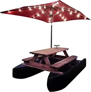 Floating Picnic Table Plans DIY Motorized Pontoon Boat with Sun Umbrella Shelter