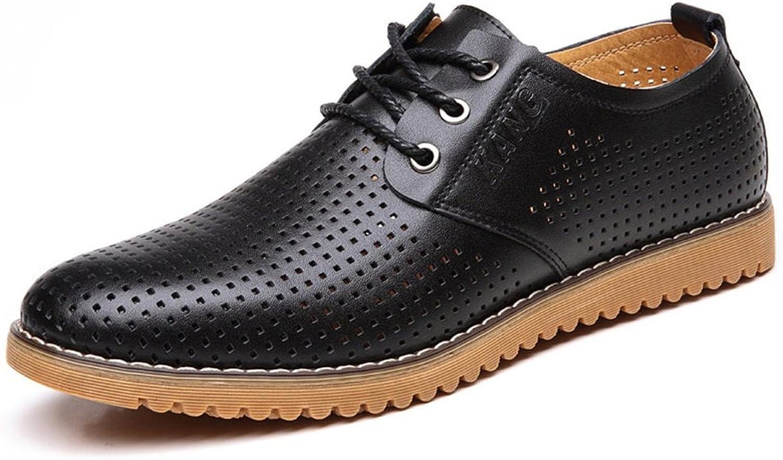 GLSHI Men's shoes Leather Spring Summer Comfort Oxfords Walking shoes Lace-up for Wedding Office & Career Black Brown Khaki
