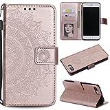 EYZUTAK Funda para iPhone 7 Plus iPhone 8 Plus, ultra delgada, con ranura para tarjetas, cierre magnético, funda de piel sintética con función atril y cordón, diseño plegable, color oro rosa