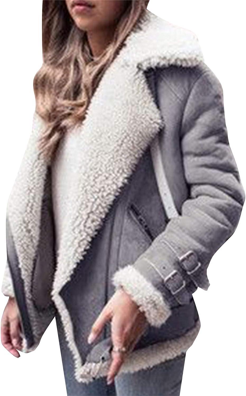 GRASWE Womens Coats Lapel Fuzzy Fleece Overcoats Fashion Open Front Long Cardigan Faux Fur Warm Winter Outwear Jackets