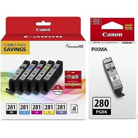 Genuine Canon CLI-281 5-Color Ink Tank Combo Pack with 5 x 5 Photo Paper (2091C006) Canon PGI-280 Pigment Black Ink Tank (2075C001)
