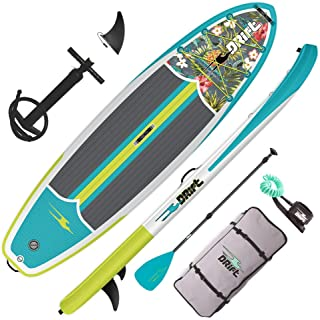 DRIFT Inflatable Stand Up Paddle Board, SUP with Accessories | Coiled Leash, Pump, Lightweight Paddle, Fin & Backpack Trav...