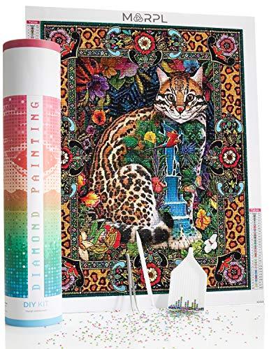 MARPL Diamond Painting XXL - 5D Diamant Malerei 40x50 cm DIY Set - Motiv Katze - Diamantstickerei-Kit mit runden Dotz inkl. Zubehör