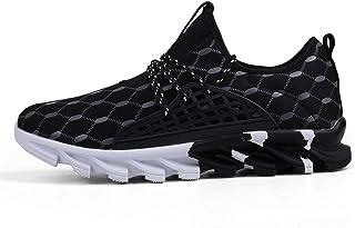 Jishu - Sneaker da corsa da uomo, con lacci e lacci, antiscivolo, traspiranti, morbide