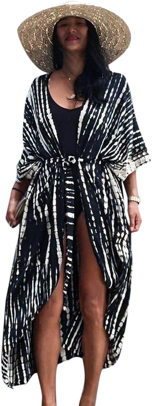 EDOLYNSA Women's Beach Coverups Long Kimono Robe Open Front Swimsuit Cover up