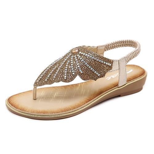 49b41964b Zicac Ladies Clip Toe Butterfly Rhinestone Flip Flop Sandals Summer Low Flat  Heel Beach Shoes