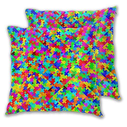 AEMAPE Quadratische Kissenbezüge, Bunte Puzzle 2er Pack dekorative Kissenbezüge Kissenbezüge für Sofa Schlafzimmer Auto 40X40 cm