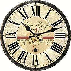 ShuaXin French Country Style Big Roman Numerals Easy to Read Wall Clocks,12 Inch Wooden Classic Rustic Country Home and Office Decorative Wall Clocks