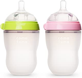 Comotomo 可么多么 防胀气宽口硅胶奶瓶 绿色& 粉色, 250ml (8 oz)