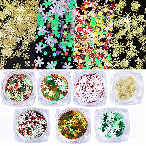 VOLODIA 7Boxes New Year Nail Art Decorations Laser Glitter Sequins Mix Snowflakes Hexagon & 90PCS Christmas 3D Gold Metal Slices Flakes Paillette For Nails Stickers
