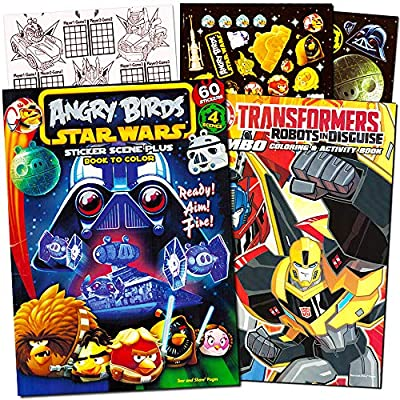 Angry Birds and Transformers Coloring Book Bundle with Angry Birds Stickers ~ 1 Angry Birds Star Wars Coloring Book with Stickers, 1 Transformers Coloring and Activity Book (Kids Party Supplies)
