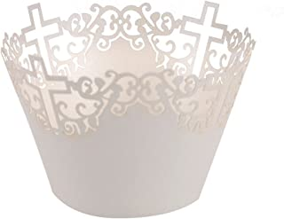 FENICAL Filigree Vine Cross Paper Cake Cupcake Wrappers Cupcake Holder Wedding Party Decor 50pcs (White)