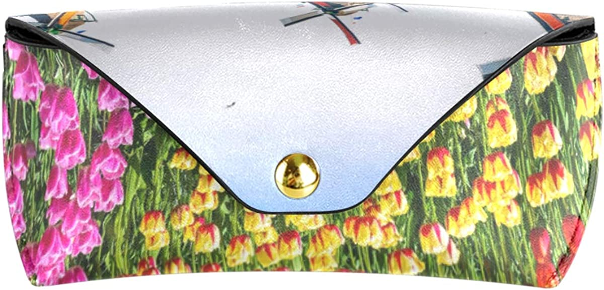 PU Leather Storage Portable Multiuse Goggles Bag Sunglasses Case Eyeglasses Pouch Tulips Traditional Windmills Landscape