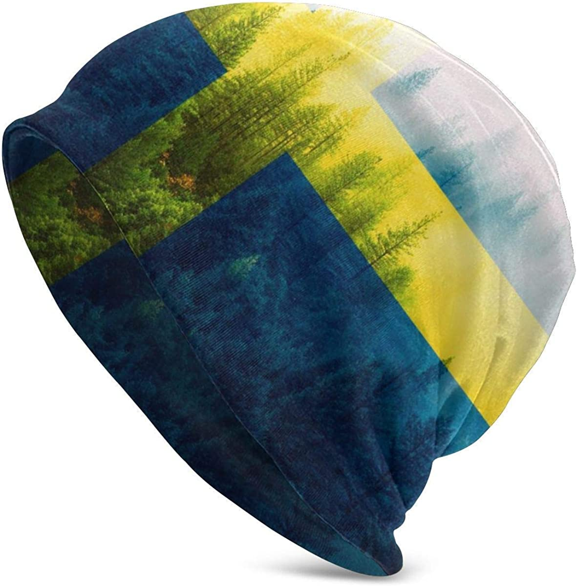 177 Sweden Flag with Forest Hats Winter Knit Beanie Sports Hats Fashion Cap for Gift