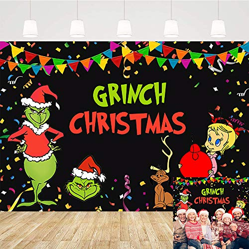 Christmas Background Party Cartoon Theme The Grinch Backdrop Grinch Party Decorations Backdrops Children Birthday Xmas Grinch Party Supplies Banner Video Studio Props Boy Girl