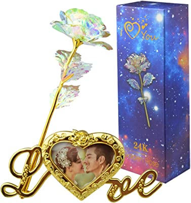 Fengek Artificial Rose Flower Plastic Colorful Rose with Love Photo Frame Base for Valentine's Day, Mother's Day, Anniversary, Wedding Gifts