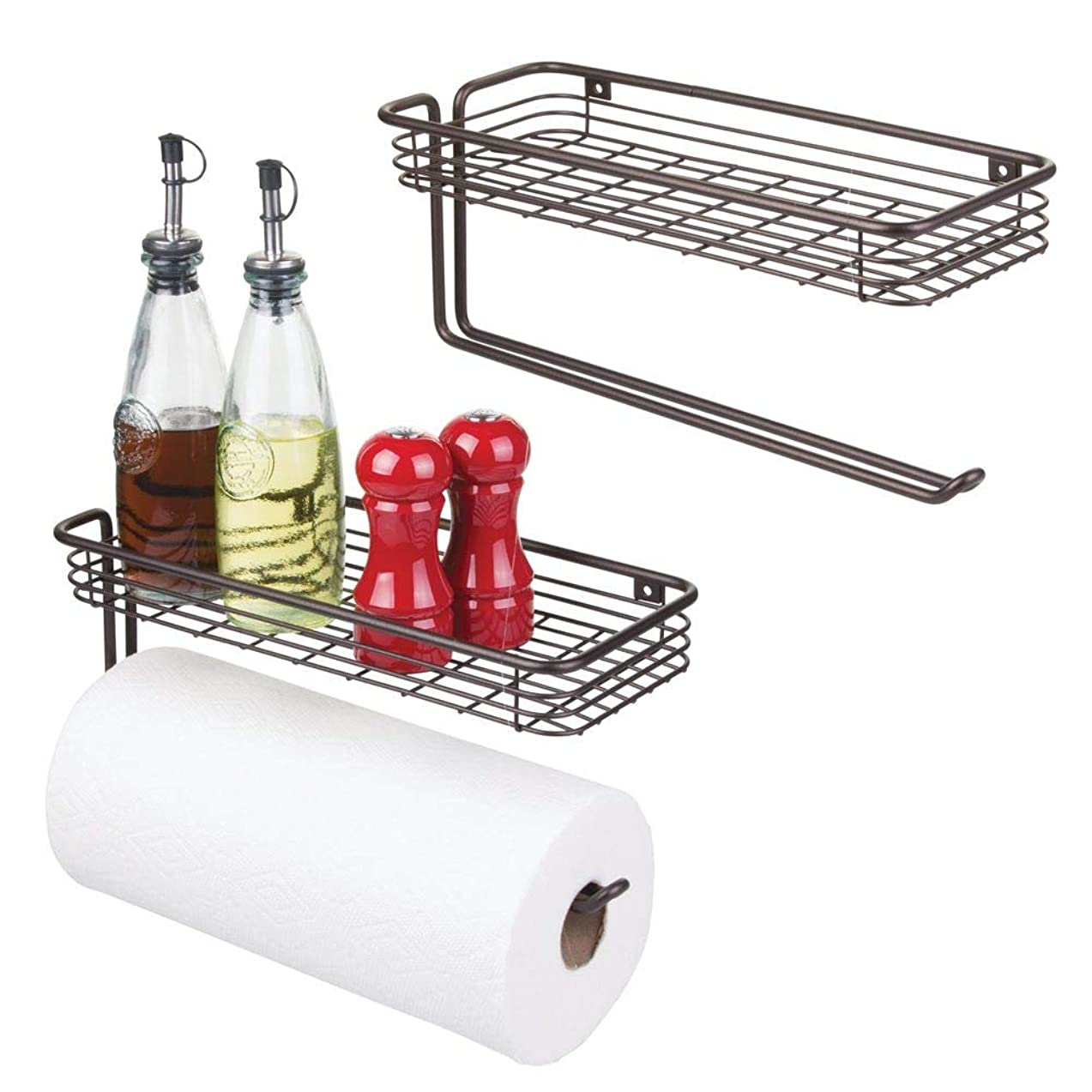 mDesign Paper Towel Holder with Spice Rack and Multi-Purpose Shelf - Wall Mount Storage Organizer for Kitchen, Pantry, Laundry, Garage - Durable Metal Wire Design - 2 Pack - Bronze