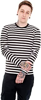 Mens Indie Retro 60's Black & White Striped Long Sleeve T Shirt