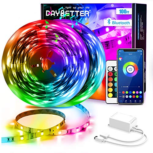 Daybetter Led Strip Lights 100ft (2 Rolls 50ft) Smart Light Strips with App Control Remote, 5050 RGB Led Lights for Bedroom, Music Sync Color Changing Lights for Room Party