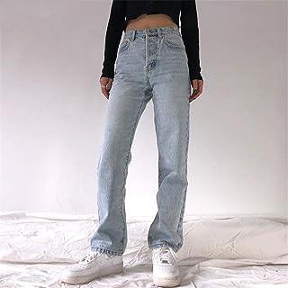 FCWJHNTSL Vaqueros cómodos Holgados de Cintura Alta para Mujer de Talla Grande Pantalones Rectos Casuales de Moda Vaqueros...